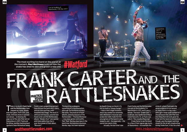 Frank Carter and the Rattlesnakes in PVN Magazine