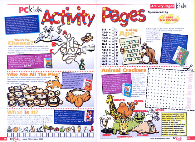 PC Kids magazine Activity Pages