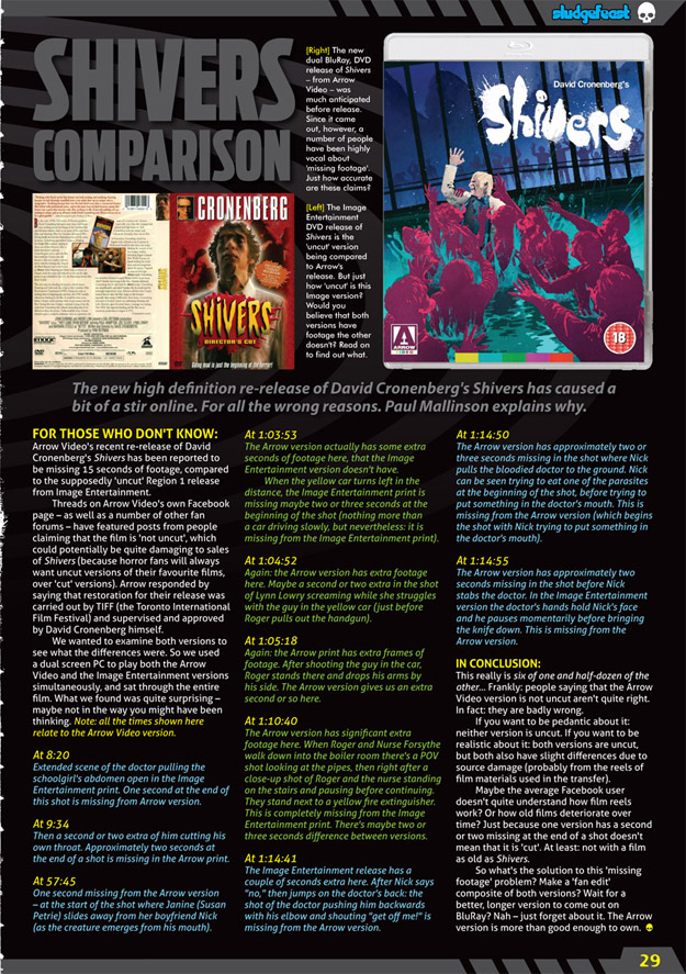Shivers comparison in Sludgefeast Magazine