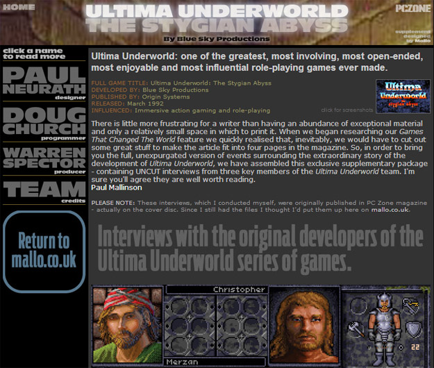Ultima Underworld interviews from PC Zone magazine
